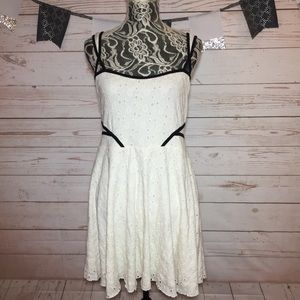 Free People Crochet Fit Flare Strappy Dress Size L